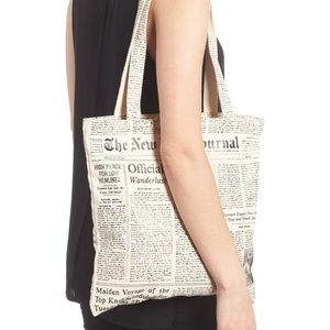 Kate Spade Newspaper Print Canvas Shopping Tote